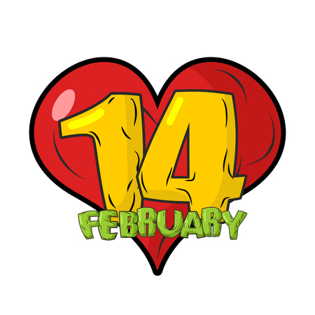 14 february: 14 February emblem. Valentines day. Sign for Valentines day. Red heart.