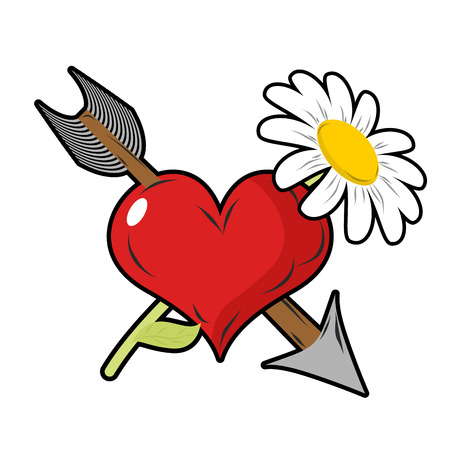 daisy field: Love and flower. Red heart and arrow. Daisy field flower. Tattoo symbol of love on Valentines day.