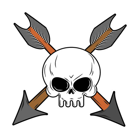orleans symbol: Skull and arrow from bow. Symbol death of head skeleton Illustration