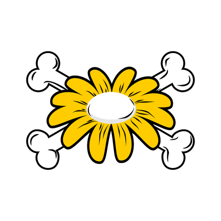 camomiles macro: Flower and bone. Daisy and crossbones. Symbol flower of death.
