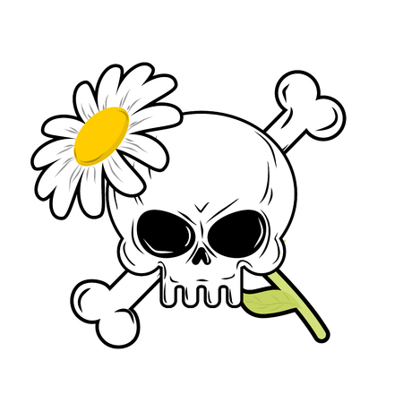 camomiles macro: Skull and flower. symbol of death and symbol of life. Illustration