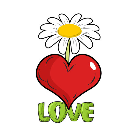 marguerite: Love. Red heart and flower. Template for tattoos. White Chamomile