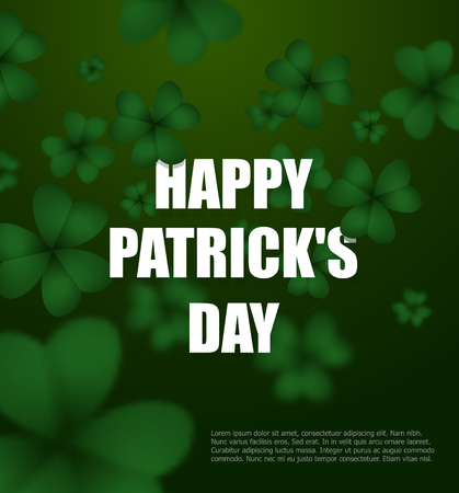 clover background: Happy day of Patrick. Green clover 3D. Green Shamrock clover background. Background of plants. Illustration for St Patricks day in Ireland