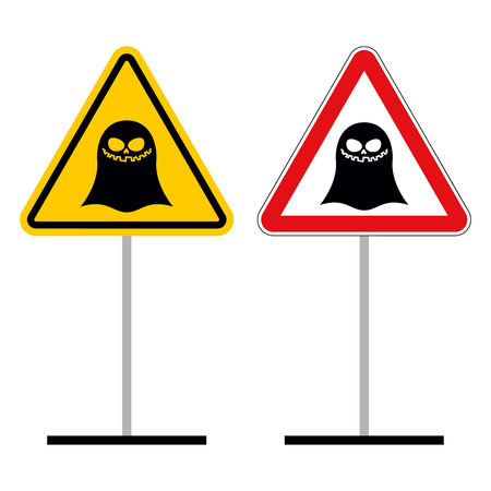 yellow attention: Warning sign attention ghost. Hazard yellow sign supernatural creature. Ghost on red triangle. Set of Road signs of mythical creatures