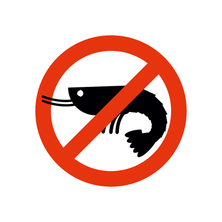 banned: Stop shrimp. Banned deep-water plankton. Frozen shrimp silhouette. Emblem against a marine animal. Red forbidding character. Ban shrimp on white background