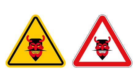 satan: Señal de peligro atención diablo. Señal de peligro amarilla Satanás. Demonio en triángulo rojo. Conjunto de señales de tráfico para el infierno