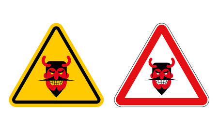 daemon: Warning sign attention devil. Hazard yellow sign Satan. Daemon on red triangle. Set of Road signs for hell Illustration