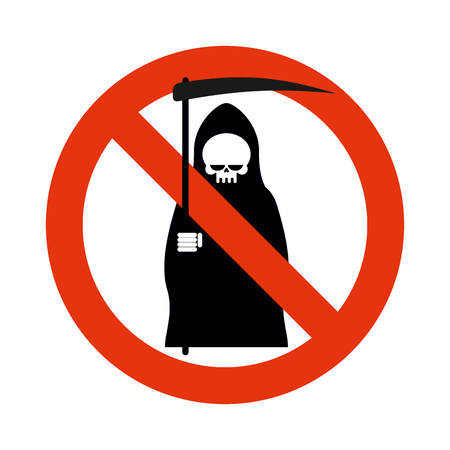 Stop death. Grim reaper is prohibited. Frozen silhouette of death with scythe. Emblem against death. Red forbidding character. Ban grim reaper
