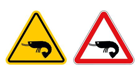 plankton: Warning sign attention shrimp. Hazard yellow sign marine plankton. Shrimp on red triangle. Set of Road signs