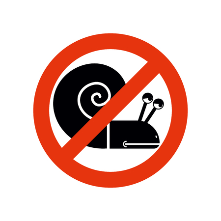 slow motion: Stop snail. Forbidden insect. Stop slow motion on road. Frozen silhouette snail. Emblem against Slow moving shellfish. Red forbidding character. Ban snail on white background