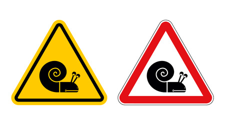 Snail warning sign of attention. Slow motion on road. Insect Hazard yellow sign. Red triangle slug. Set of Road signs of Slow moving shellfish