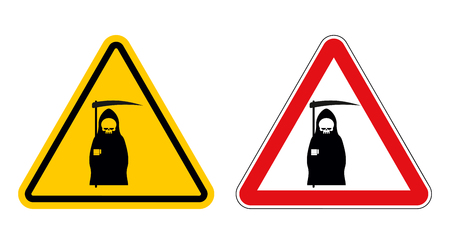 yellow attention: grim reaper warning sign of attention. Death Danger Yellow sign. Death on red triangle. Set of Road signs of grim reaper on white background Illustration