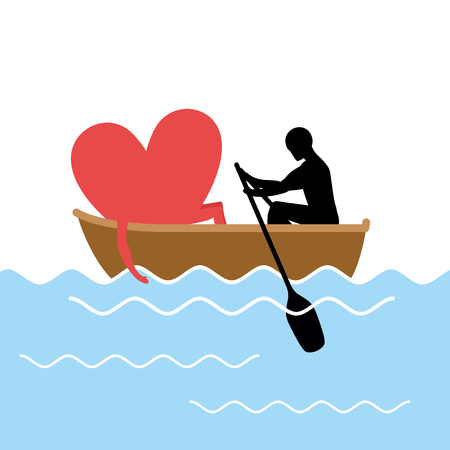 rendezvous: Man and  love and ride in boat. Lovers of sailing. Man rolls heart of gondola. Rendezvous in the boat on pond. Romantic illustration for valentines day Illustration