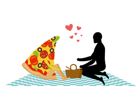 rendezvous: Pizza on picnic. Rendezvous in Park. piece of pizza and man. Country lovers jaunt into cash. Meal in nature. Plaid and basket for food on lawn. Man and food. Romantic meal illustration life gourmet Illustration