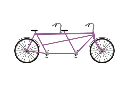 a two wheeled vehicle: Tandem Bicycle isolated on white background. Bicycles for walks together. Wheeled vehicle for two people
