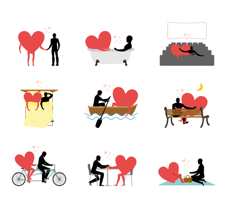 rendezvous: Lovers set of silhouettes. Man and heart in movie theater. Lovers in bath. Romantic rendezvous boating. Joint walk. Cycling tandem. Love in cafe Illustration