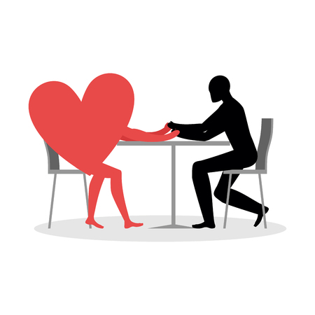 dinner date: Lover in cafe. Man and heart sits at table. Love in restaurant. Lovers in  dining room. Romantic date in public place. Illustration for Valentines Day