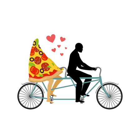 walk of life: Pizza on bicycle. Lovers of cycling. Man rolls a slice of pizza on tandem. Joint walk with a meal. Romantic date Italian food. Romantic illustration life gourmet Illustration