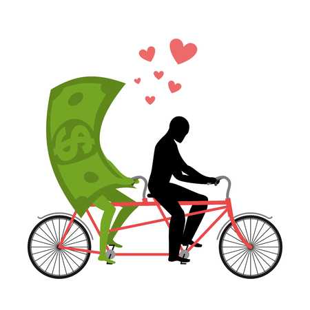 Money for bike. Lovers of cycling. Man rolls dollar on tandem. Joint walk with cash. Romantic date currency. Romantic financial illustration