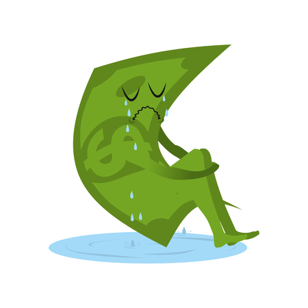 Dollar crying. Money in puddle of tears. Yearning and sob capital. Sad cash. Abandoned, useless currency. Illustration bankruptcy 일러스트