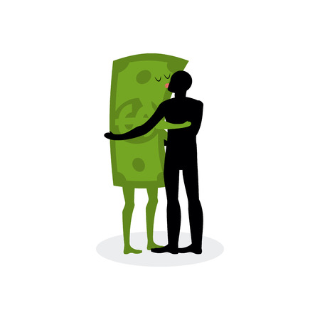 hot date: Kiss money. Man embraces dollar. Hot kiss on date with paper bills. Love in cash. Romantic financial currency illustration