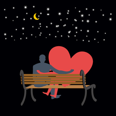 cuddling: Lovers looking at stars. Date night. Man and love sitting on bench. Heart symbol of love. Moon and stars in night dark sky. Romantic illustration for valentines day