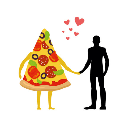dinner date: In love with pizza man. Man and slice of pizza. Lovers holding hands. Romantic meal illustration life gourmet