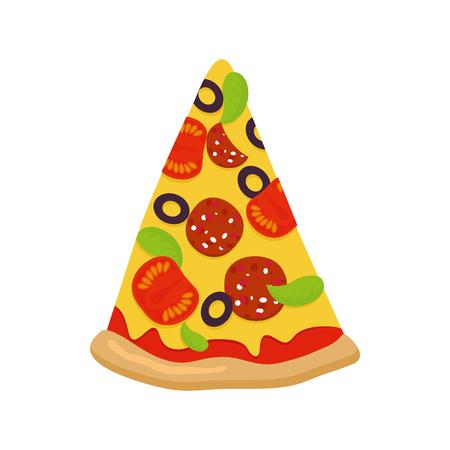 흰색 배경에 피자 조각입니다. 토마토와 소시지 치즈와 녹색. 파삭 파삭 한 빵 껍질. 피자 흰색 배경에 고립입니다. 이탈리아 전통 음식.