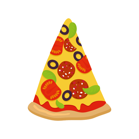 crust: Piece of pizza on white background. Tomatoes and sausage cheese and greens. Crispy crust. Pizza isolated on white background. Italian traditional food.