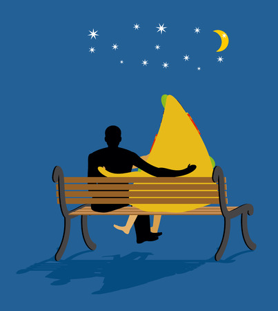 date night: Pizza looked at stars. Date night. Man and piece of pizza sit on bench. Moon and stars in night dark sky. Romantic meal illustration life gourmet