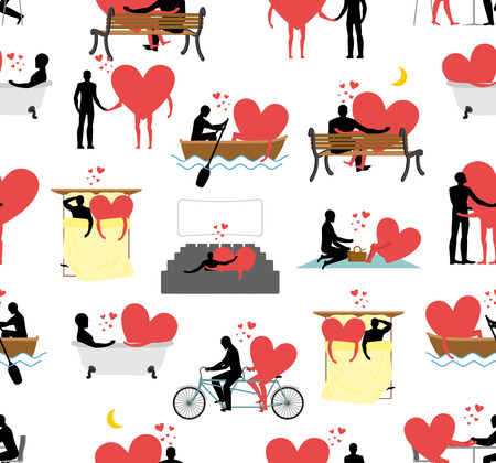 theater man: Lovers set of silhouettes seamless pattern. Heart and ornament person. Man and heart in movie theater. Romantic texture. Lovers in bath. Romantic rendezvous boating. Joint walk. Cycling tandem. Love in cafe.