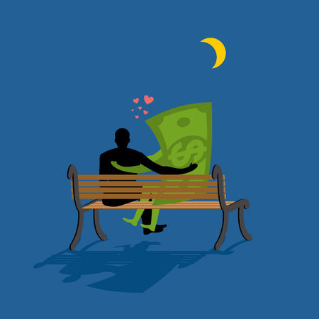 date night: Cash Lovers looking at stars. Date night. Man and dollar money sitting on bench. Moon and stars in night dark sky. Romantic financial currency illustration Illustration