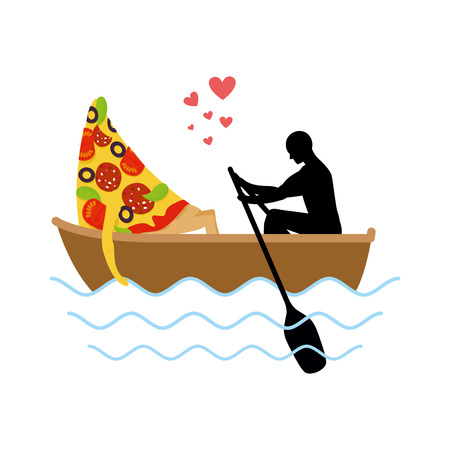 meat lover: Man and slice of pizza and ride in boat. Lovers of sailing. Man rolls pizza on gondola. Appointment of food in boat on pond. Romantic meal illustration life gourmet