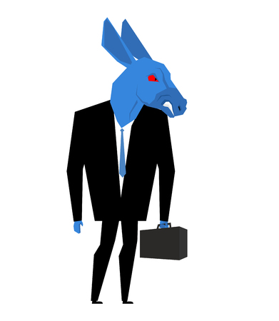 democratic donkey: Donkey businessman. Metaphor of Democratic Party of United States. Wild animal with briefcase and tie. Beast in business suit. Political illustration for USA elections