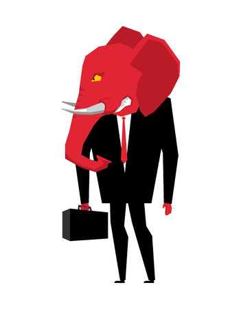 Elephant Republican politician. Metaphor of political party of USA. Wild animal with briefcase and tie. Beast in business suit. Illustration for elections in America Illustration