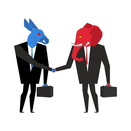 politicians: elephant and donkey deal. Democrats and Republicans shake hands. Handshake of businessmen. Agreement between politicians. An animal in business suit and briefcase. Allegory of political parties in America. USA Elections
