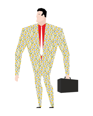 dude: Dude businessman in suit of colors. Flower clothing. Trendy Office plankton. Boss with a suitcase on white background. Male businessman isolated