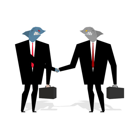 wicked: Business Sharks Handshake make deal. Professionals shake hands. Agreement between marine predators. Agreement between wicked animal. Fish in business suit and tie Illustration