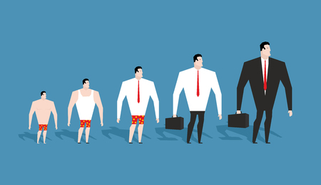 hunch: Business evolution. development of simple worker in pants to boss in suit. Formation of businessman in his career. Achieving status of company