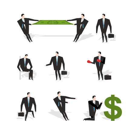 adoration: Set businessman situation. Figures of man in suit with briefcase. Share profit. Businessman with boxing gloves. Adoration of dollar. Prayer money. Sad sad Manager sits on chair