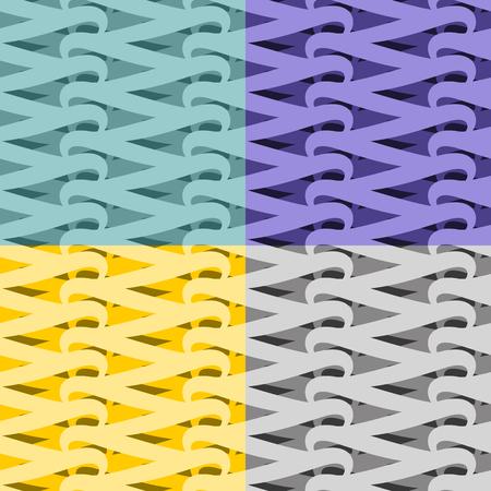 interlocking: Netting seamless pattern. Vite abstract background. Set Interlocking texture. Vintage ornament for fabric Illustration
