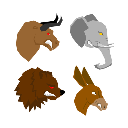 tusks: Angryl animal set. Aggressive bull with red eyes. Scary elephant with tusks. Horrible bear with grin. Ferocious donkey with long ears. Wild animals