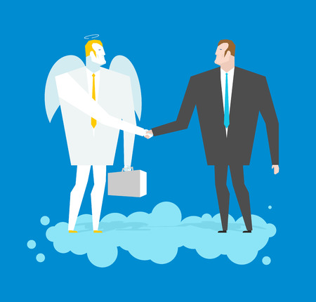 archangel: Deal with Angel. Businessman and cherub make deal in heavens. Archangel and man shaking hands on cloud. Handshake in paradise. Contract between manager and Seraphim. Lamb of God in business suit and briefcase Illustration