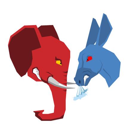El elefante y el burro. Republicanos y demócratas de la oposición. El debate político en Estados Unidos. Ilustración de las elecciones USA