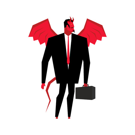 swindler: Devil businessman. Satan is boss of hell. Lucifer in business suit. Red demon with wings and carrying case. Mephistopheles business man. Prince of Darkness with suitcase. devil with horns Illustration