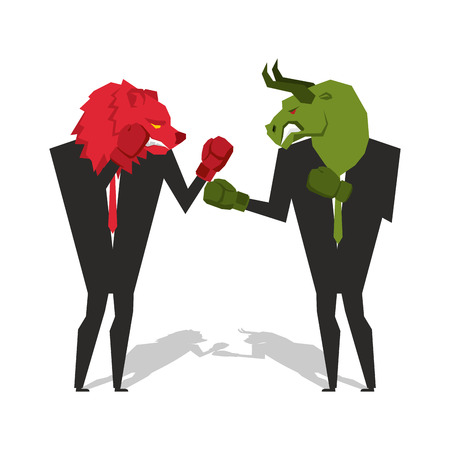 bull fight: Bear and bull are boxing. Traders fight. Businessmen combat in business suit and boxing gloves. Battle of red and green bear bull. Allegory illustration for business infographics