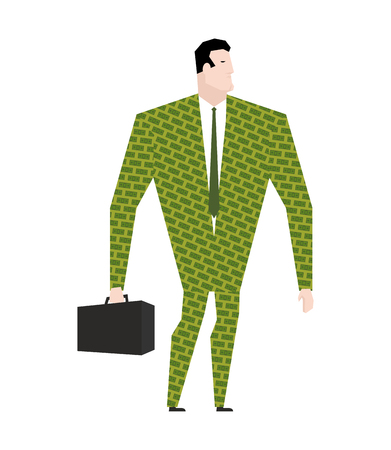 plancton: Businessman in suit of dollars. Money Clothing. Trendy Office plankton. Boss on white background. Male businessman isolated Vectores