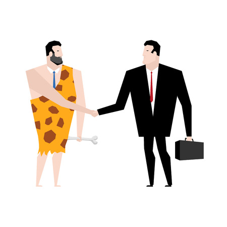 homo sapiens: Businessman and ancient people make deal. tradel with Businessman prehistoric. Young and old manager shake hands. Handshake with Neanderthals. Agreement between office people. Homo sapiens in tie Illustration