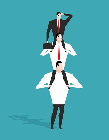 deputy: Career ladder. Boss sitting on shoulders of deputy. Head sits on neck of manager. Director is looking at building long-range business strategy. Infographics hierarchy in company. Workers in career system