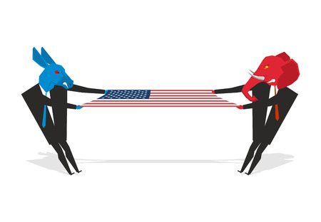 partisan: Elephant and donkey pulled american flag. Democrats and Republicans share electorate. Two people pulling USA flag. Section countries. Illustration for  elections. Debate symbol of political parties